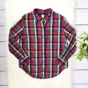 Madewell Red Green Checkered Button Down Top